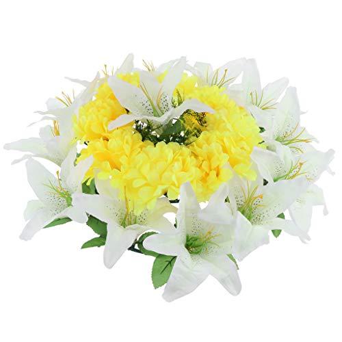 D DOLITY Seiden Chrysantheme und Lily Blumen Kranz Kunstblumen Grabblumen als Grabschmuck Grabgesteck und Grabdekoration