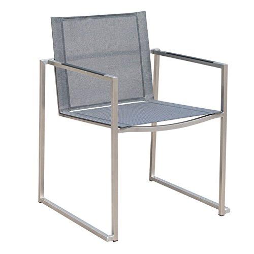 Gartenstuhl OUTLIV. Ferro Stapelstuhl Edelstahl/Textilene Silber-Schwarz Stuhl Garten