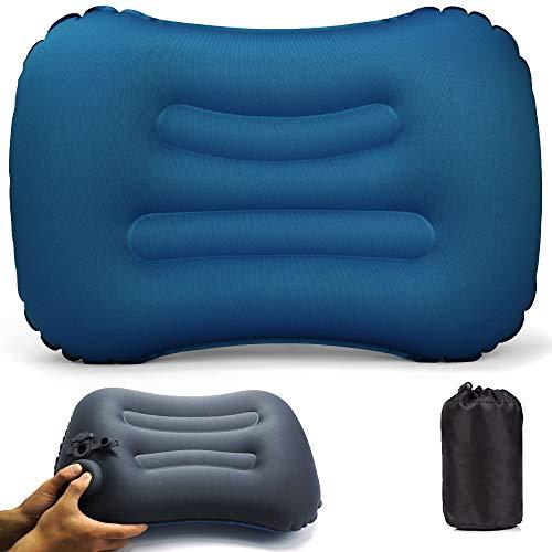 VICKSONGS Cuscino da Gonfiabile,Cuscino Gonfiabile da Campeggio, Cuscino Gonfiabile da Campeggio Impermeabile Leggero Portatile Compatto per Supporto da Collo per Campeggio Spiaggia (Blu Reale)