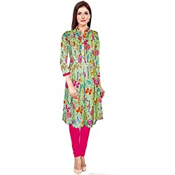 PINK PANDA'S FEEDING KURTI, FEEDING / NURSING / MATERNITY TOP (Medium, Green)