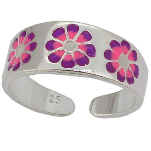 Touch Jewellery - Anillo para dedo de pie, plata de ley con esmalte rosa y morado, diseño floral