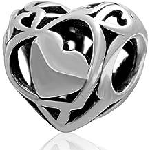 Soulbead - Ciondolo a perlina in argento Sterling 925 anticato, a forma di cuore con motivo traforato, compatibile con braccialetti in stile europeo