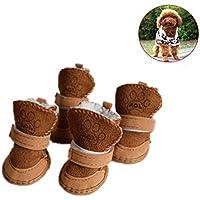 Sannysis Zapatos de Seguridad Mascotas Dress up Zapatillas Navidad Mascotas Perros Pequeños Botas de Invierno Accesorios Ropa de Disfraces Cálida Zapatos de Algodón Cachorro (S, Caqui)