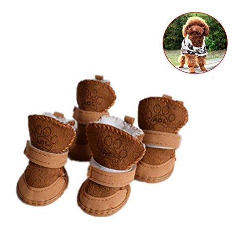 zapatos de seguridad mascotas dress up zapatillas navidad Sannysis mascotas perros pequeños botas de invierno accesorios Ropa de disfraces cálida zapatos de algodón cachorro (S, Caqui)
