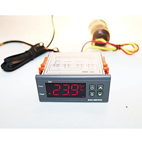 Inkbird 12V All-Purpose Temperature Controller Thermocouple Cooling and Heating Calibration + Sensor 2 Relay Output Thermostat