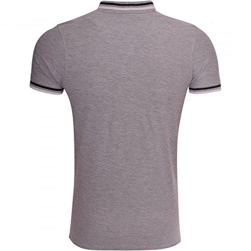 Firetrap Herren Original Designer Polo T Shirt Kragen Pique Kleine Logo Top Grau - Grau