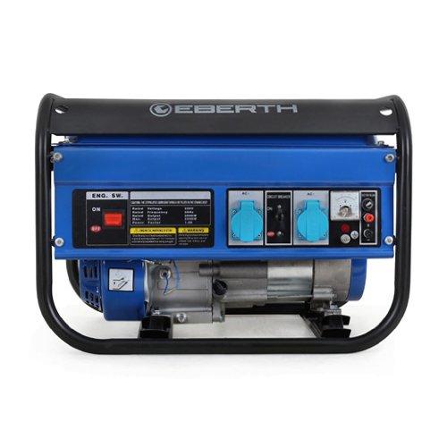 EBERTH 3000 Watt Benzin Stromerzeuger Notstromaggregat Stromaggregat Generator (Seilzugstart, luftgekühlt, Ölmangelsicherung) blau -