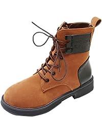 HhGold Schuhe Damen Stiefel Freizeitschuhe Winterstiefel Stiefeletten Kurze Stiefel  Frauen Flache Runde Zehe Plattform Flock Lace a9bfced61a