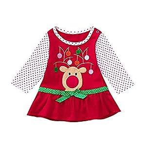 Proumy ◕ˇ∀ˇ◕Kinder Weihnachten Dot Print Kostüm Top Kleinkind Baby Mädchen Kinder Herbst Kleidung Langarm Weihnachten Blume Deer Tops T-Shirt Mini Kleid