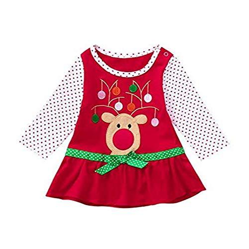 Proumy ◕ˇ∀ˇ◕Kinder Weihnachten Dot Print Kostüm Top Kleinkind Baby Mädchen Kinder Herbst Kleidung Langarm Weihnachten Blume Deer Tops T-Shirt Mini Kleid (rot,4T) (Kleinkind Kostüm Bilder)
