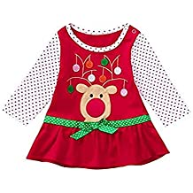 Proumy - Disfraz infantil con estampado de lunares de Navidad, de manga larga, para bebés, niñas, otoño, Navidad, flores, desfiles