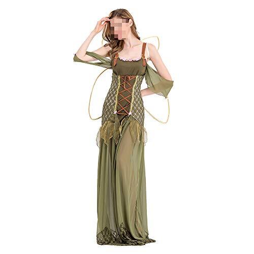 Kostüm Fairy Flower - Halloween kostüm, Halloween Cosplay kostüm Halloween Cosplay Horror Kostüm,Halloween Adult Green Elf Kostüm Flower Fairy Dress Cosplay