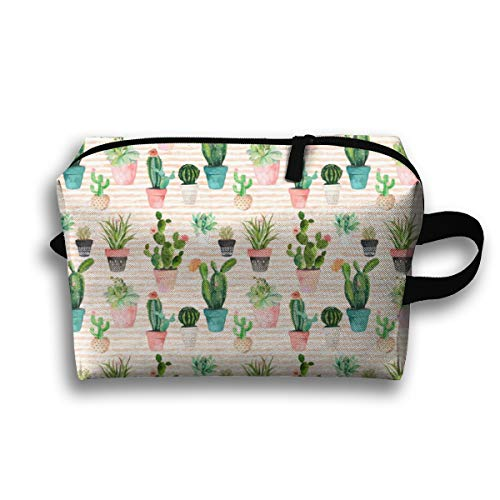 Makeup Cosmetic Bag Cactus Obsession Peach Stripes_89858 Medicine Bag Zip Travel Portable Storage Pouch for Mens Womens 10x4.9x6.3 Inch