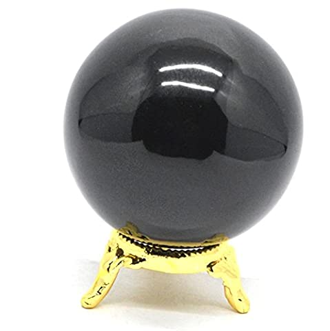 Healing Crystals India®: Natural Black Obsidian 50-60mm Polished Crystal Sphere Ball Metaphysical Healing Mineral Feng Shui Chakra Aura Balance Stone Free