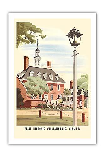 Pacifica Island Art - Williamsburg, Virginia - Gouverneurspalast - Chesapeake & Ohio Eisenbahnen - Retro Eisenbahn Plakat von Bern Hill c.1940s - Giclée Kunstdruck 61 x 91 cm
