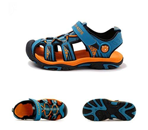 Eagsouni® D'été Bout Fermé Sandales Extérieur Marche Randonnée Velcro Chaussures Plates Respirant Plage Chaussure Enfant Garcon Fille Bleu Foncé