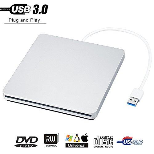 PowerLead Externer DVD / CD Rewriter USB-Einschub Externer DVD / CD-Brenner für das neueste Mac Pro / MacBook Pro / ASUS U306UA / ASUS / DELL Latitude mit USB-C-Anschluss (Silber) (Neueste Mac Pro)