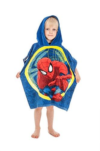 Jerry Fabrics s.r.o. 044999 Jungen Kapuzen Poncho Handtuch;100% Qualitäts-Baumwolle;Alter 3-7 Jahre;Spider Man, mehrfarbig (O R Handtücher)