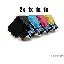 5er Set Eurotone Kompatible Toner XXL für Konica Minolta TNP 22 passend zu Bizhub C35 P A0X5192 A0X5492 A0X5392 A0X5292 im Sparpack - 2x NEGRO