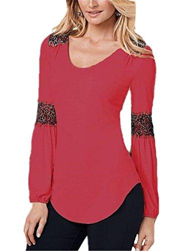 Gogofuture Maglietta Manica Lunga Casual Splice Pizzo Elegante Camicetta Blusa Sexy Ufficio Girocollo T-Shirt Maliga Per Donna Red