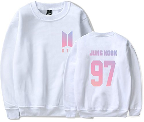 SERAPHY Unisex BTS Felpa Felpe con cappuccio BTS Pullover girocollo super confortevole Suga Jin Jimin Jung Kook J-Hope Rap-Mostro V bianca-97-JUNG KOOK