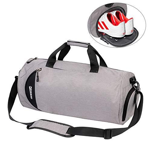 Borsa sportiva borsone palestra uomo e donna con scomparto per scarpe, borsa da viaggio duffel bag uomo tote grande impermeable 30l 49 × 25 × 25 cm ( grigio )