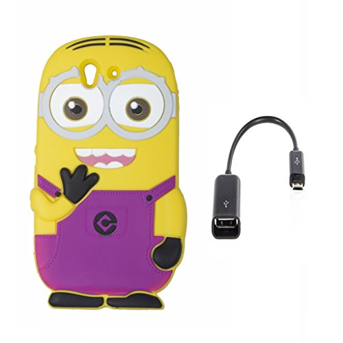 Double Eye Cute Despicable Me Minion Silicone Back Cover For SONY EXPERIA Z L36H With Free OTG Cable  available at amazon for Rs.399
