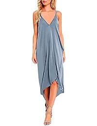 813cfbbac9d3 Yanhoo Mode Frauen Sommer Boho V-Ausschnitt Long Maxi Abend Party Kleid  Lose Strand Sommerkleid Full Dress Straight Unregelmäßige mit…