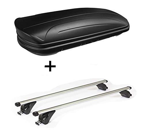 VDP Dachbox VDPMAA320 320Ltr abschließbar schwarz matt + Dachträger/Relingträger KING1 kompatibel mit BMW X3 (F25) (5 Türer) 11-17