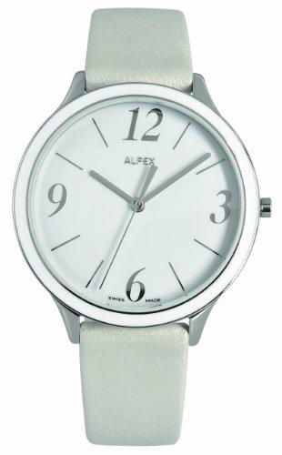 Alfex - 5701_851 - Montre Femme - Quartz Analogique - Bracelet Peau Blanc