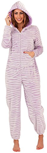 Femmes Doux Onesies Combinaison À Capuche et Col chemise Petit jusqu'à XL Lilas Tiger Stripe