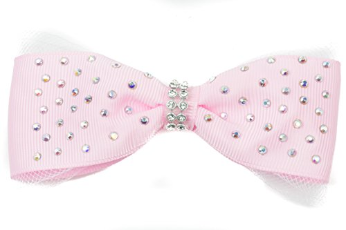 mytoptrendzr-ladies-girls-light-pink-large-ribbon-bow-with-sparkly-crystal-on-beak-style-hair-clip-h