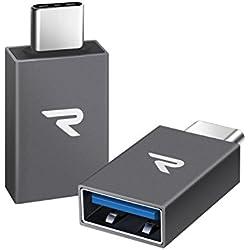 Rampow Adaptateur USB C vers USB OTG 3.1 - Adaptateur USB Type C Mâle vers USB A Femelle pour Samsung S8/S9/S10, MacBook Pro, Google Pixel/Chromebook, Huawei P20/P30 [Lot de 2] Gris Sidéral