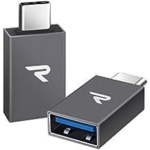 USB-C Adaptador USB 3.1 [OTG] Rampow® Tipo-C (Macho) a Adaptador USB A (Hembra)-GARANTÍA DE POR VIDA-USB-C A ADAPTADOR USB 3.0 PARA MacBook Pro 2016/2017,Nexus 5X/6P,Samsung S8 y Más--Paquete de 2