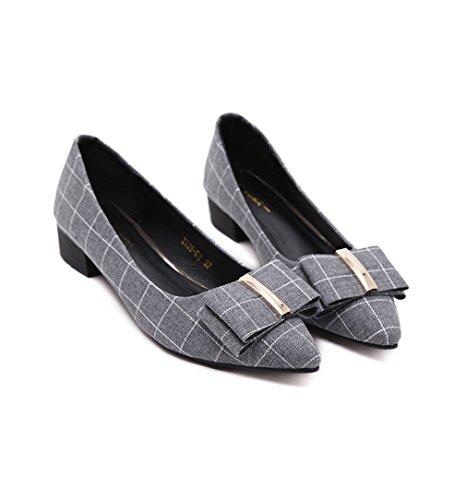 Confortável Cinzentas Elegante Escritório Deslizador Doce Respirável Chiques Sapatos Decorado Dedo Bloco Ol Calcanhar De Com Tela Lazer Quadriculada Senhora Apontado Fita RqZaROwA