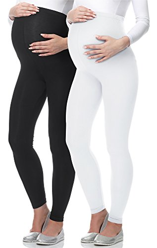 Be Mammy Lange Umstandsleggings BE-02 2er Pack (Schwarz/Weiß, L)