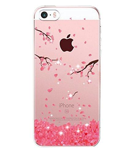 Alsoar Compatibile per Custodia iPhone SE, Cover iPhone 5S /5 Silicone, Cover per iPhone 5s 5 SE Panda Case Silicone Trasparente Morbido Ultra Sottile Gel Protettiva Shock-Absorption (Fiore)