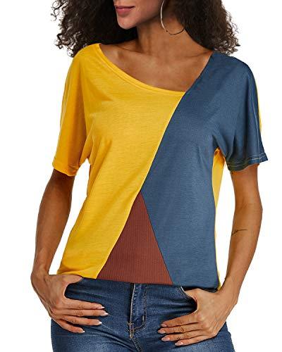YOINS Sexy Schulterfrei Oberteil Damen Tshirt Sommer Oberteile Frauen Tunika Damen Tops Gestreift Pulli Lose Hemd Kurzarm-gelb EU 48(Herstellergröße: XXXL)