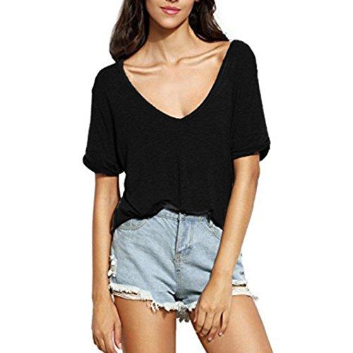 iHENGH T-Shirt Damen Sommer V-Ausschnitt Kurzarm Lose Beiläufig Top Tee Blusen (V-ausschnitt Jersey Mantel)