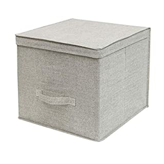 Cflagrant® Large Folding Fabric Storage Box Cube XL Dimensions: 36 x 36 x 32 cm with Lid and Handle beige