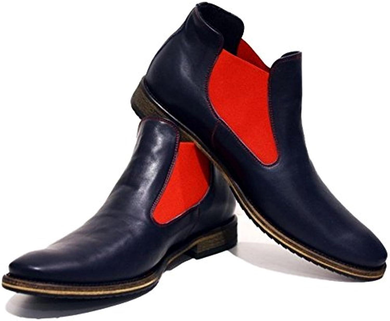 PeppeShoes Modello Bra   Handgemachtes Italienisch Leder Herren Navy Blau Stiefeletten Chelsea Stiefel   Rindsleder