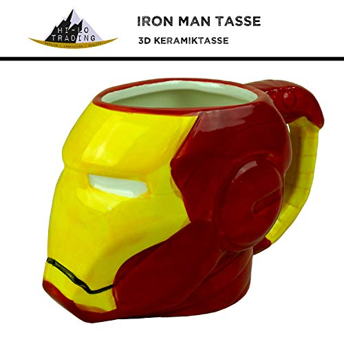 hi-lo Marvel Avengers Iron-Man Tasse Keramik Rot Groß - 350ml - Fanartikel Geschenk Männer Frauen Kinder - Vintage Spiderman Shirt