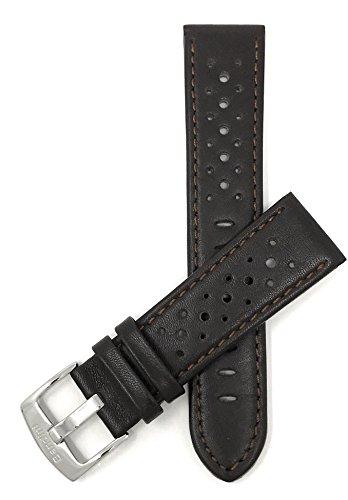 Extra Lang (XL) Leder Uhrenarmband 20mm für Herren, Braun, perforiert, Stil GT Rally, Schließe Edelstahl, auch verfügbar in schwarz, weiß, rot, gelb, orange, königsblau und rosa