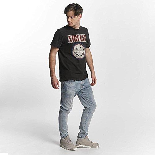 Amplified Herren Oberteile/T-Shirt Nirvana Colour Smiley Grau