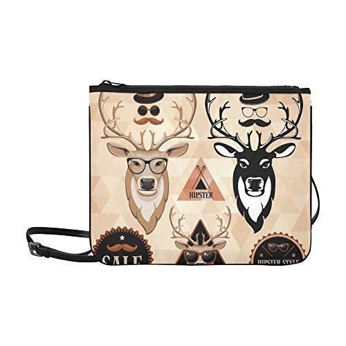 WYYWCY Hipster Set Deer Face Labels Inschriften Benutzerdefinierte hochwertige Nylon Slim Clutch Crossbody Tasche Umhängetasche