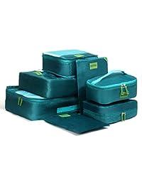 MonTrüe Set de 7 cubos de equipaje   Organizadores multifuncionales para maletas de viaje   Juego económico de 7 organizadores de viaje   Ideales para bolsos de viaje, maletas y mochilas