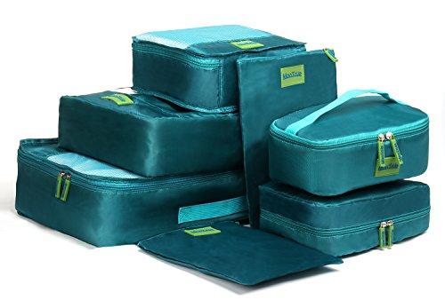 MonTrüe Set de 7 cubos de equipaje | Organizadores multifuncionales para maletas de viaje | Juego económico de 7 organizadores de viaje | Ideales para bolsos de viaje, maletas y mochilas, Verde