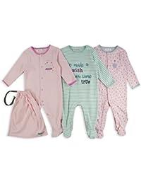 The Essential One - Baby Mädchen Wunsch Schlafanzuge/Schlafanzug/langarmeliger Body/ Strampler (3-er Pack mit Beutel) – Rosa / Weiß / Sanft Gruen - ESS191
