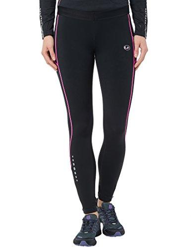 Ultrasport 380100000316 Pantaloni Jogging, Donna, Nero/Neon Rosa, M