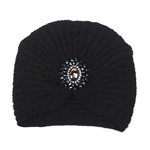 WINWINTOM® Womens Winter Warm Stricken Häkeln Ski Hat Braided Turban Kopfschmuck Cap (Schwarz) (Knit Slouchy Beret)